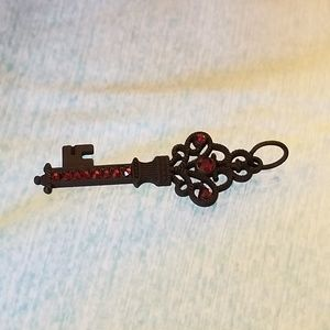 NWT Black Key Pendant w/ Red Glass Crystals